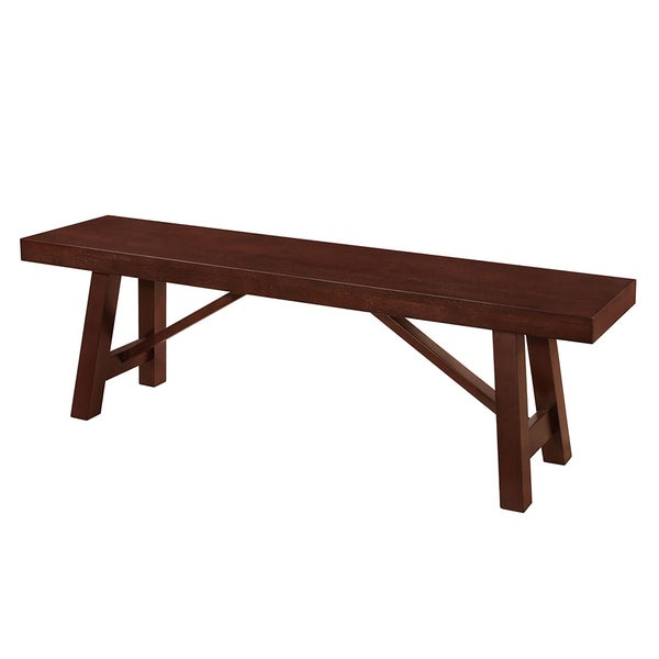 Solid Wood 60 Inch Espresso Dining Bench   Free Shipping Today    Overstock.com   20522384