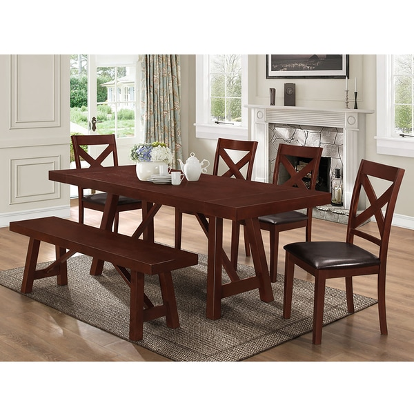 Solid Wood 60-inch Espresso Dining Bench