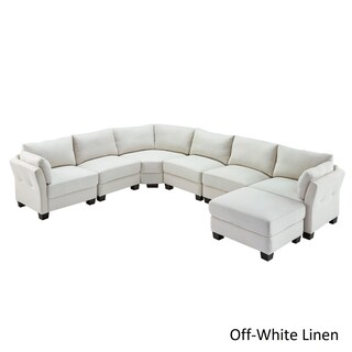 Elize U-Shaped 7-Seat Linen Fabric Modular Sectional Seating by iNSPIRE Q Bold
