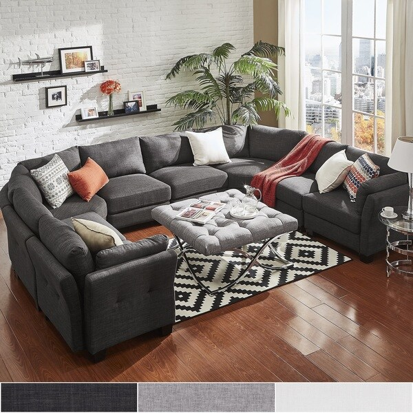 elize ushaped 8seat linen fabric modular sectional seating by inspire q bold