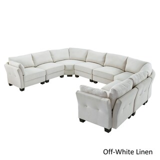 Elize U-Shaped 8-Seat Linen Fabric Modular Sectional Seating by iNSPIRE Q Bold