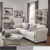 Elize L-Shaped 4-Seat Linen Fabric Modular Sectional Seating by iNSPIRE Q Bold