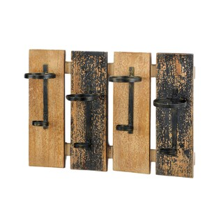 Koehler Brown Wood and Metal Rustic Wall-mounted Wine Rack