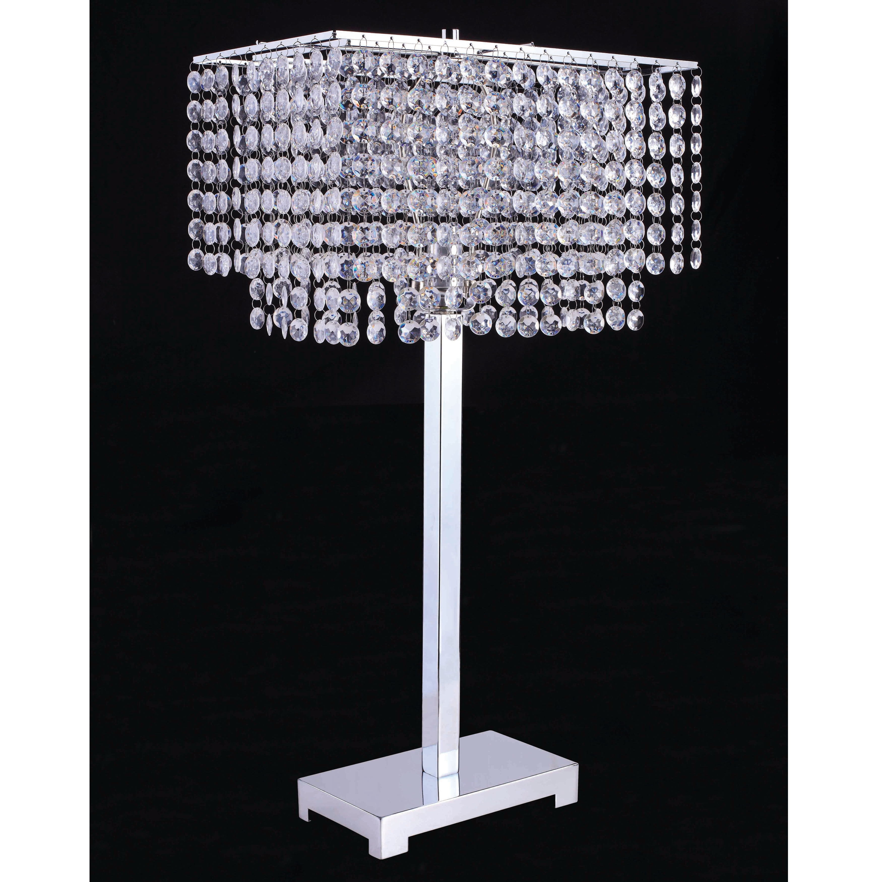 Furniture Of America Daye Glam Silver Metal Crystals Table Lamp
