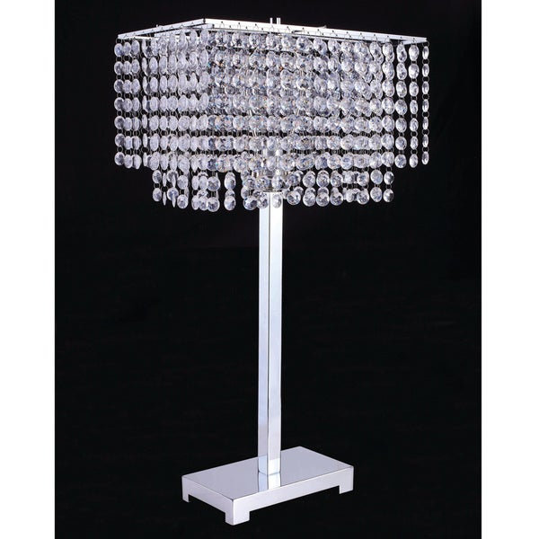 Furniture of America Artenia Glam Hanging Crystals Table Lamp