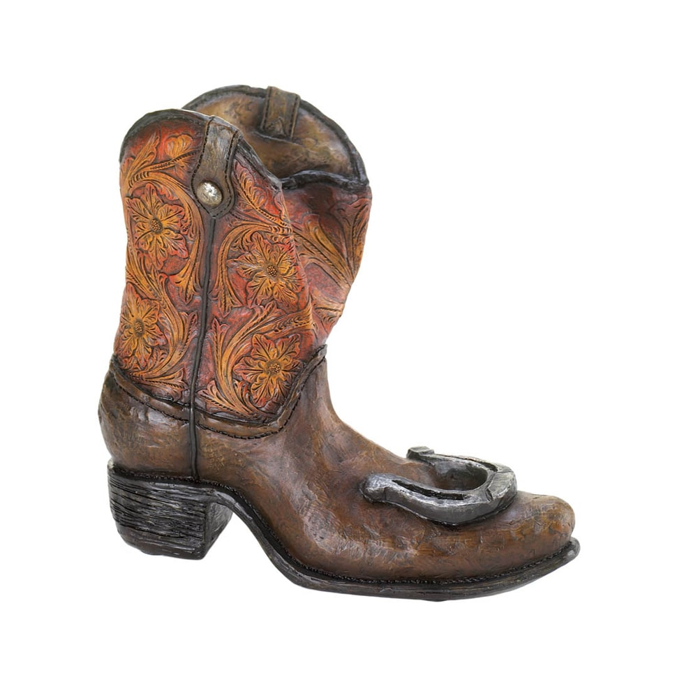 TOM & CO. Koehler Lucky Cowboy Boot Brown Polyresin Wine ...