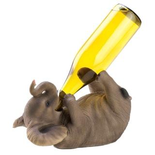 Koehler Playful Elephant Brown Polyresin Wine Holder