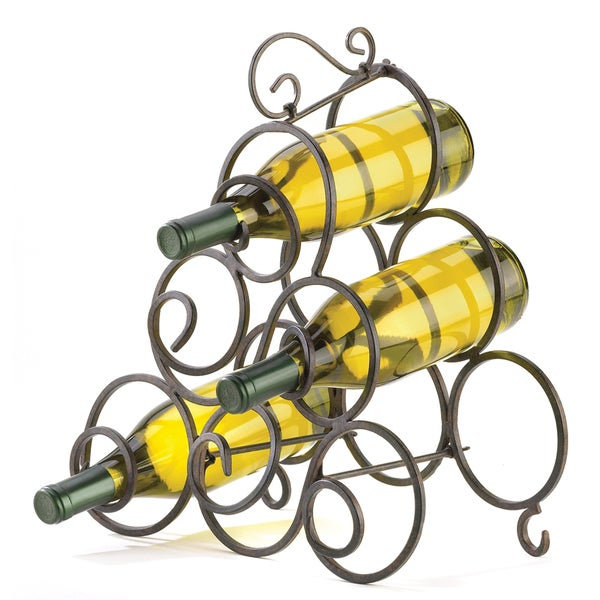 Koehler Brown Metal Space Saving Tabletop Wine Rack
