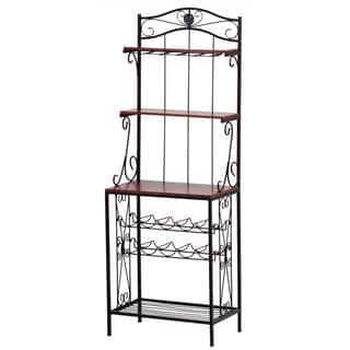 Koehler Home Brown Metal Decorative Bakers Wine Storage Rack