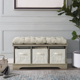 """42"""" Storage Bench w/ Cushion and Totes - 42 x 16 x 18h"""