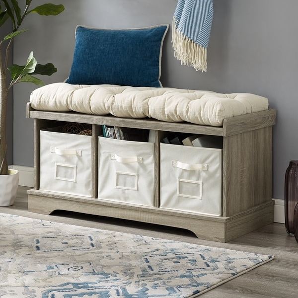 Shop 42 Storage Bench W Cushion And Totes 42 X 16 X 18h Free