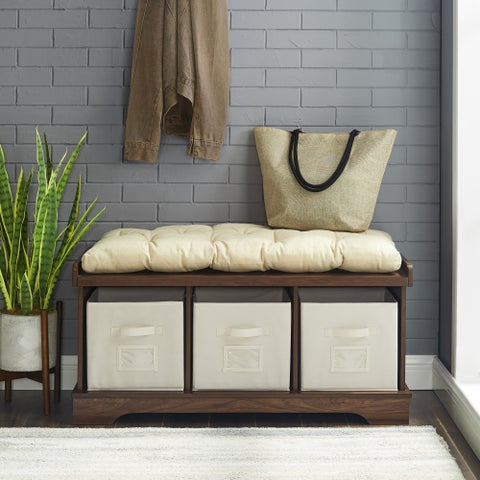 42 Inch Farmhouse Wood Entryway Storage Bench w/ Cushion and Totes