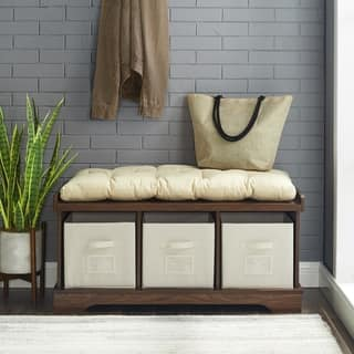 42-inch Driftwood Storage Bench with Totes and Cushion|https://ak1.ostkcdn.com/images/products/13884310/P20522467.jpg?impolicy=medium
