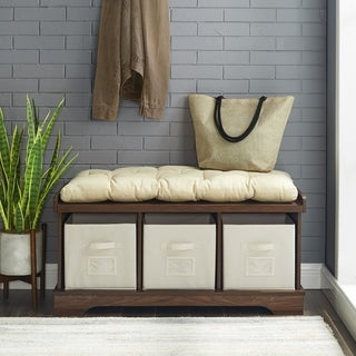 42 Inch Driftwood Storage Bench With Totes And Cushion