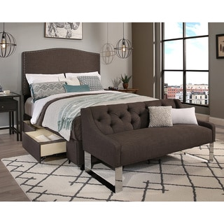 Republic Design House Queen Size Newport Grey Headboard, Storage Bed and Tufted Sofa Bench Collection