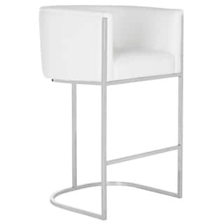 Safavieh Couture Shiloh White Leather Bar Stool