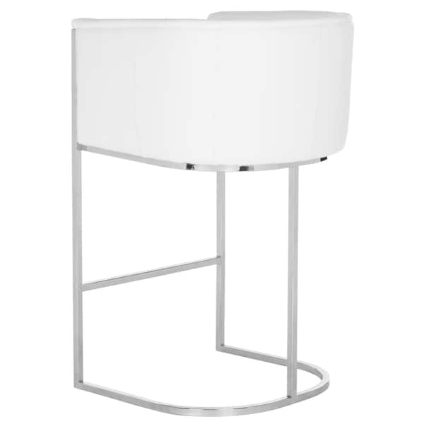 Cool Safavieh Couture Shiloh Glam White Leather Commercial Grade Bar Stool Lamtechconsult Wood Chair Design Ideas Lamtechconsultcom