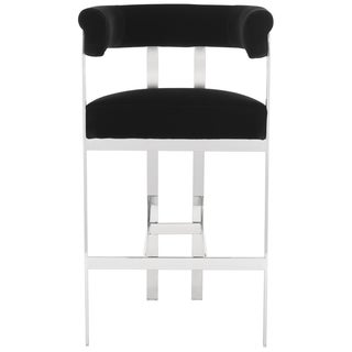 Safavieh Couture High Line Collection Aluna Black Velvet Barstool