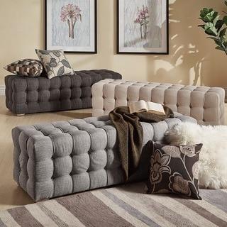 Knightsbridge Linen Fabric Tufted Bench by iNSPIRE Q Artisan
