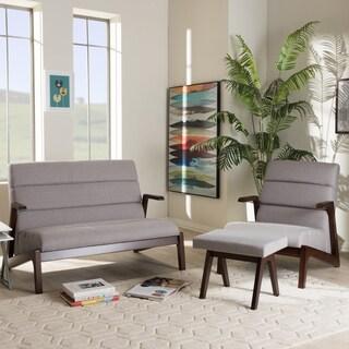 Baxton Studio Mid-Century Medium Brown Finish Wood and Grey Fabric 3-Piece Set