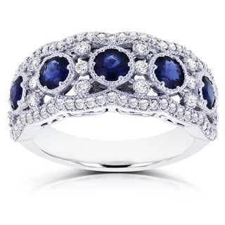 Annello by Kobelli 10k White Gold Blue Sapphire and 1/2ct TDW Diamond Anniversary Ring