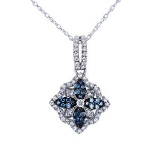 Annello by Kobelli 10k White Gold 2/5ct TDW Blue Color Diamond Flower Pendant
