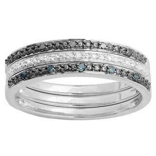 Sterling Silver 1/10ct TW Round Black, Blue and White Diamond Wedding Band Set (I-J, I2-I3)
