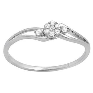 10k White Gold 1/10ct TW Round White Diamond Bridal Swirl Split Shank Cluster Promise Ring (I-J, I2-I3)