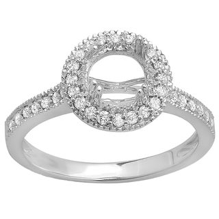 14k White Gold 1/3ct TW Round White Diamond Semi Mount Bridal Ring (H-I, I1-I2)