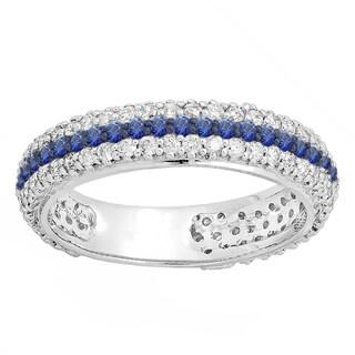 14k White Gold 1/3ct TW Round Diamond and Blue Sapphire Pave Set Wedding Eternity Band (H-I, I1-I2)