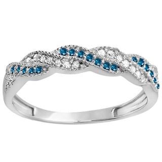 10k White Gold 1/4ct TW Round White and Blue Diamond Anniversary Wedding Stackable Band Swirl Ring (H-I, I1-I2)
