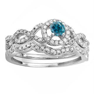 10k White Gold 5/8ct TW Round-cut Blue and White Diamond Halo Style Bridal Set (H-I, I1-I2)
