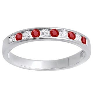 14k White Gold 3/8ct TW Round Ruby and White Diamond Anniversary Wedding Stackable Band (H-I, I1-I2)