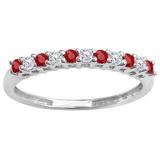 14k White Gold 1/3ct TW Round Ruby and White Diamond Anniversary Stackable Wedding Band (I-J, I2-I3)