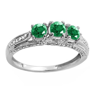 14k White Gold 1ct TW Round White Diamond and Emerald Vintage Bridal 3-stone Engagement Ring (H-I, I1-I2)