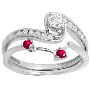 10k White Gold 1/2ct TW Round Ruby and White Diamond Swirl Bridal Engagement Ring Set (I-J, I2-I3)