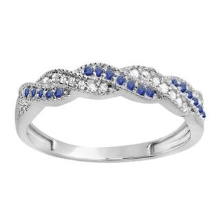 14k White Gold 1/4ct TW Round Blue Sapphire and Diamond Wedding StackableSwirl Band (H-I, I1-I2)