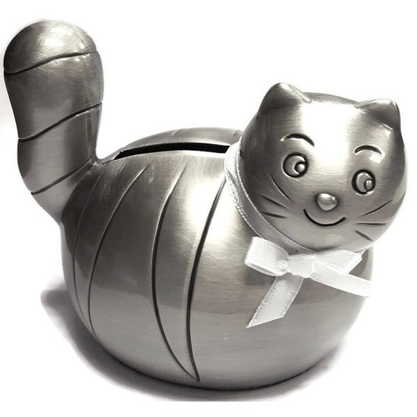 Heim Concept Pewter Plated Cat Bank with White Ribbon