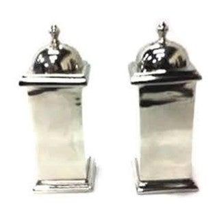 Elegance Nickel Plated Salt & Pepper Shaker Set, Squared Design
