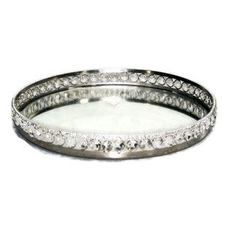 Elegance Sparkle Round Mirror Tray with Beaded Crystals Dia: 11.25""