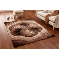 Casa Regina Soft Shaggy Collection 3D Floral Spiral Design Area Rug - 5' x 6'6