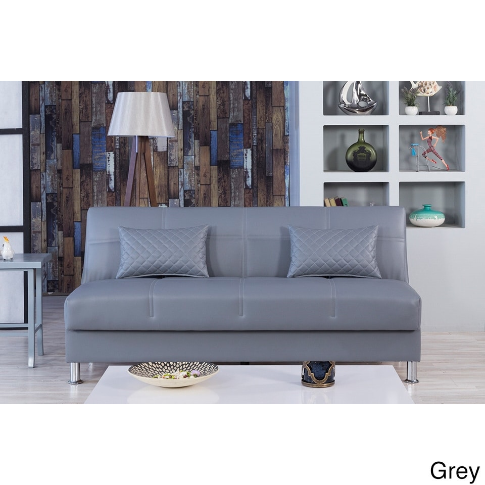 Eco Rest Contemporary Faux Leather Sleeper Sofa (Zen Gray...