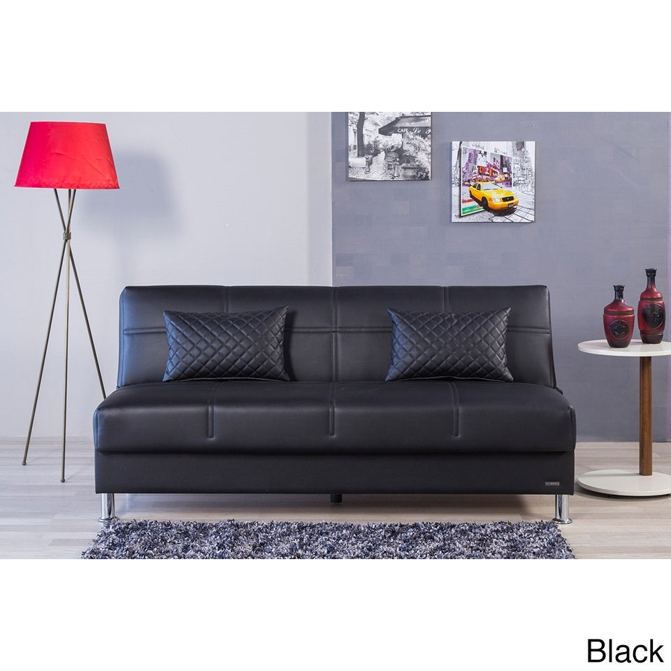 Eco Rest Contemporary Faux Leather Sleeper Sofa (Zen Blac...