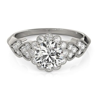 Transcendent Brilliance Heart Over Heart Halo Diamond Engagement Ring 1 1/2 TDW