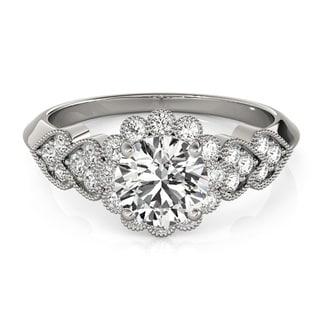 14k Gold 1 1/4 TDW Transcendent Brilliance Heart Over Heart Halo Diamond Engagement Ring