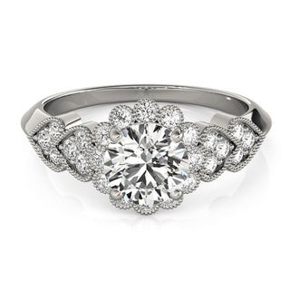 Transcendent Brilliance Heart Over Heart Halo Diamond Engagement Ring 1 3/4 TDW