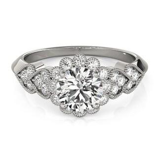 Transcendent Brilliance Heart Over Heart Halo Diamond Engagement Ring 1 1/10 TDW