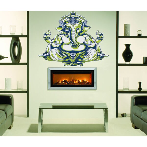 shop full color yoga indian elephant sticker, elephant decal, wall