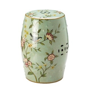 Gardenia Blooming Flowers Round Ceramic Stool
