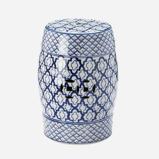 Exotic Patternized Round Ceramic Stool